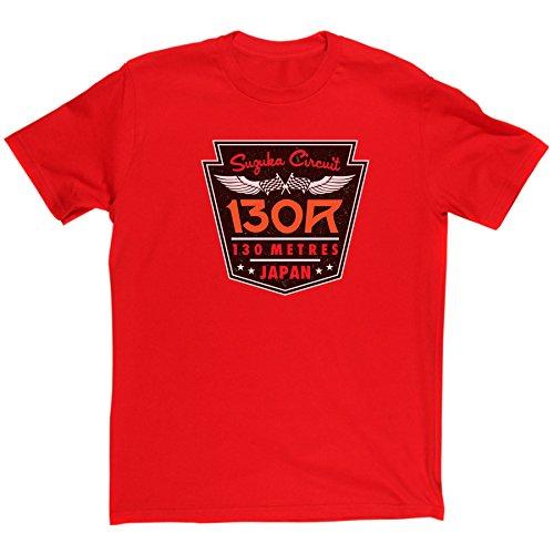 (Men's Suzuka Circuit 130R Corner Motor Racing Japanese Grand Prix Fan T-shirt (red/print xxlarge))
