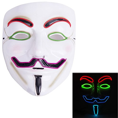 [Creative Luminous EL Wire V for Vendetta Led Mask Halloween Light Up Cosplay Mask Costume Fawkes Anonymous for Show Festival Party Halloween] (Anonymous Mask Costume)
