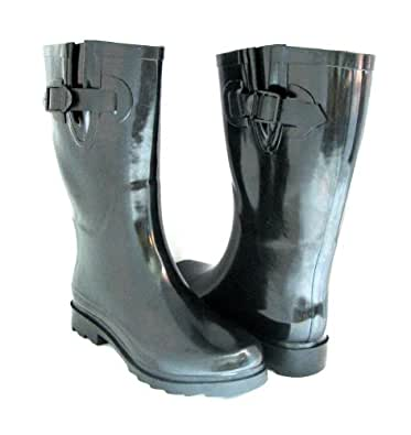 Amazon.com | Women's Rain Boots Flat Mid Calf Rubber Rain