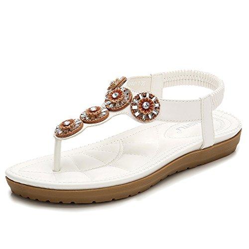 Toe Tongs White Sandales Bas Chaussures Plat Femme Sandales Strass Sandales Bohème Hope Clip Talon qYaCR