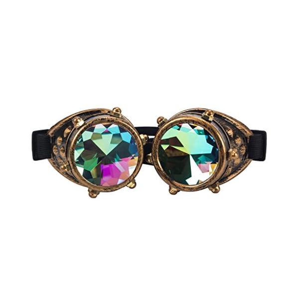 Careonline Festivals Kaleidoscope Gloth Vintage Rainbow Prism Sunglasses Steampunk Goggles Adjustable Bands 3