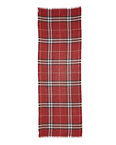 BURBERRY Giant Check Wool and Silk Gauze Scarf in Parade Red