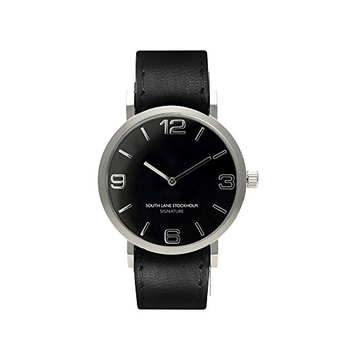 South Lane 'SIGNATURE' Swiss Quartz Stainless Steel and Leather Casual Watch, Color:Black (Model: 659436314368) by South Lane