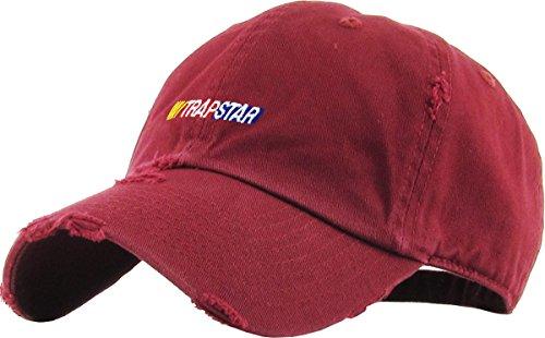 KBSV-090V BUR Trapstar Dad Hat Vintage Distressed Baseball Cap Polo Style Adjustable