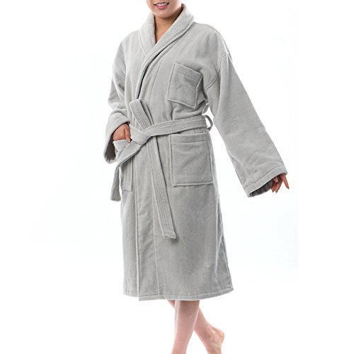 (alpine swiss Blair Womens Cotton Terry Cloth Bathrobe Shawl Collar Velour Spa Robe Gry SM Gray)