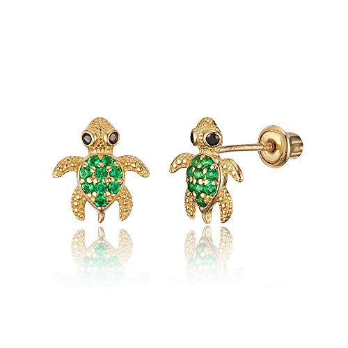 14k Yellow Gold Green Turtle Cubic Zirconia Children Screwback Baby Girls Stud Earrings ()