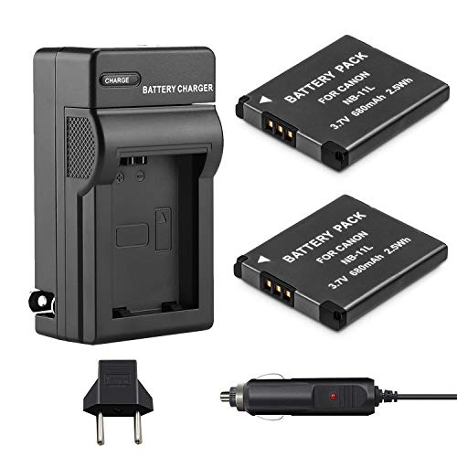 Venwo NB-11L/NB-11LH Battery (2-Pack) and Charger kit for Canon PowerShot ELPH 190 is, ELPH 180, ELPH 110 HS, SX400 IS, SX410 IS, SX420 IS, A2300 IS, A2400 IS, A2500, A3400 - Mah Replacement 680