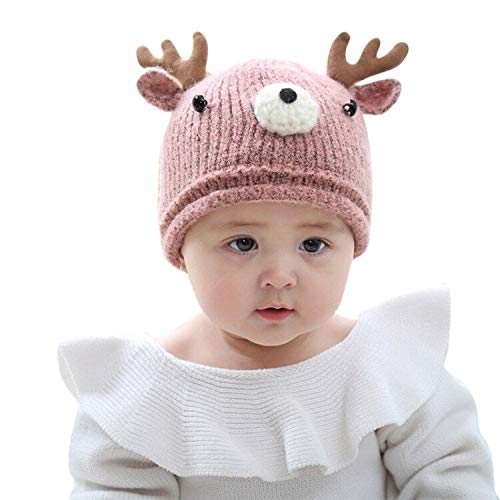 JUMISEE Toddlers Kids Cute Reindeer Antlers Winter Hat Beanie Knitted Cotton Lined Cap for Boys Girls Pink