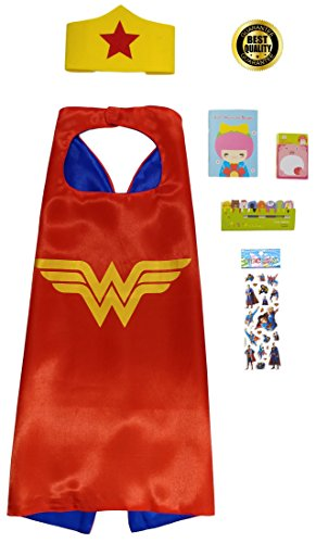 Girl Superhero 6 Piece Set with Cape, Headband, Mini Notepad and Mini Sticky Tabs (Superheroes Outfit)