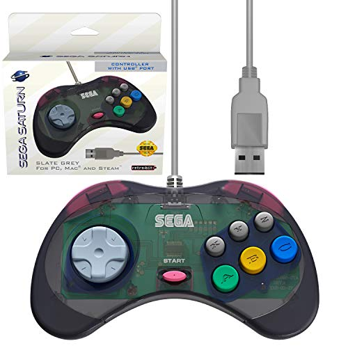 Retro-Bit Official Sega Saturn USB Controller Pad for Sega Genesis Mini, PC, Mac, Steam, RetroPie, Raspberry Pi - USB Port - Slate Grey