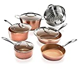 Gotham Steel Hammered Copper 10 Piece Cookware Set, As Seen on TV Rose