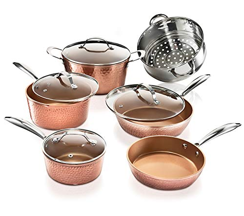 Gotham Steel Hammered Collection 10 Piece Premium Cookware, Pots and Pan Set with Triple Coated Nonstick Copper Surface Aluminum Composition for Even Heating, Oven, Stovetop Dishwasher Safe