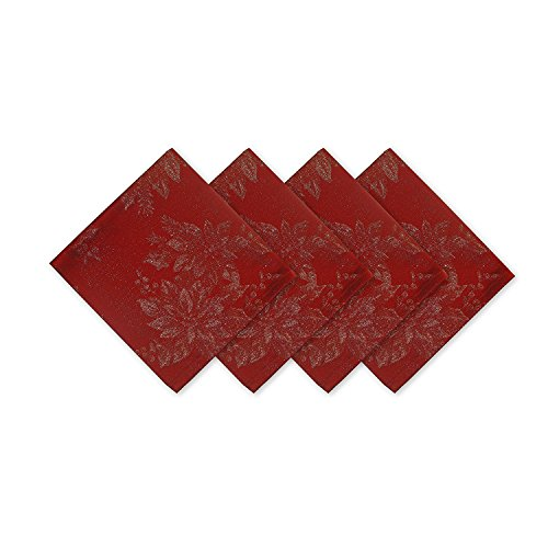 Christmas Poinsettias - Metallic Holiday Poinsettia Damask Christmas Holiday Napkin Set - 4 Piece Napkin Set, Red/Gold