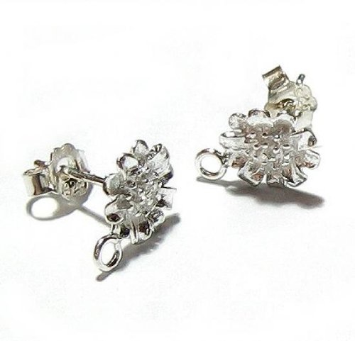2 pairs / 4 pcs .925 Sterling Silver Ball Sun Flower Stud Dangle Earrings Connector Loop Post 8mm w/ear nut/Clutches
