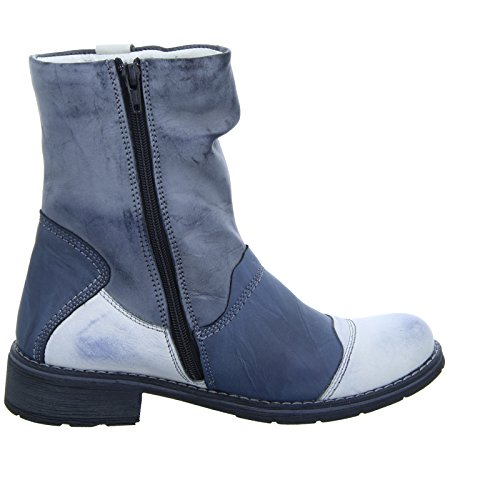 Kristofer Stiefel 2096A Damen Warmfutter Leder Blau Grau