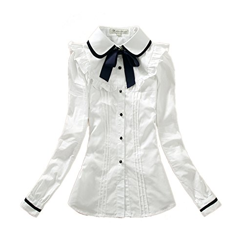 [Nuotuo Womens Lapel Collar Button Down Long Sleeve White Shirt Xl Size] (Preppy School Girl Costumes)