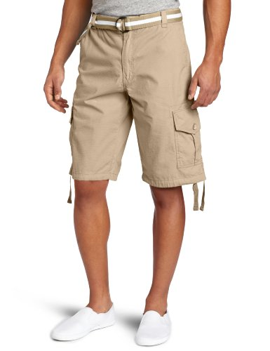 Southpole Men's Belted Ripstop Basic Cargo Short with Washing and 13.5 Inch Length All Season, Deep Khaki,46 (Casual Khaki Shorts)