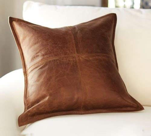 Excentoutwear 100% Lambskin Leather Pillow Cover - Sofa Cushion Case - Decorative Throw Covers for Living Room & Bedroom - 20x20 Inches - Tan Pack of 1 (Plain Decorative Pillow Cases)