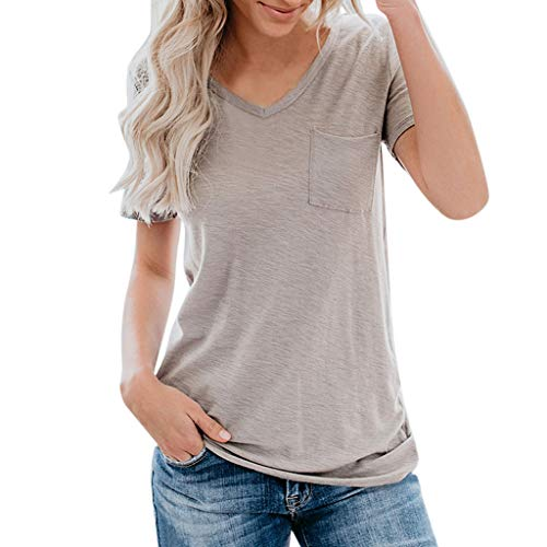 Claystyle Women Summer Short Sleeve Solid Pocket Casual Basic Bottom T-Shirt Blouse Top White ()
