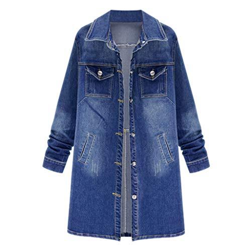 iHHAPY Women's Long Denim Jacket Denim Trench Coat Lapel Denim Jacket Loose Long Sleeve Autumn Winter Coat Plus Size