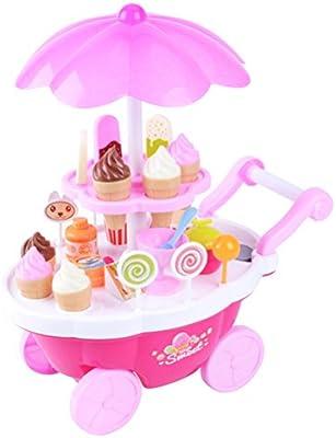 Toyvian Niños Juego de simulación Juguete simulación Dulces Helado Carro Carretilla Juguete supermercado (Rosa)