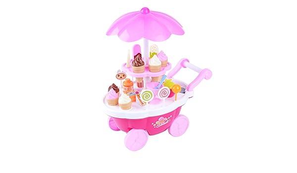 Toyvian Niños Juego de simulación Juguete simulación Dulces Helado Carro Carretilla Juguete supermercado (Rosa): Amazon.es: Juguetes y juegos