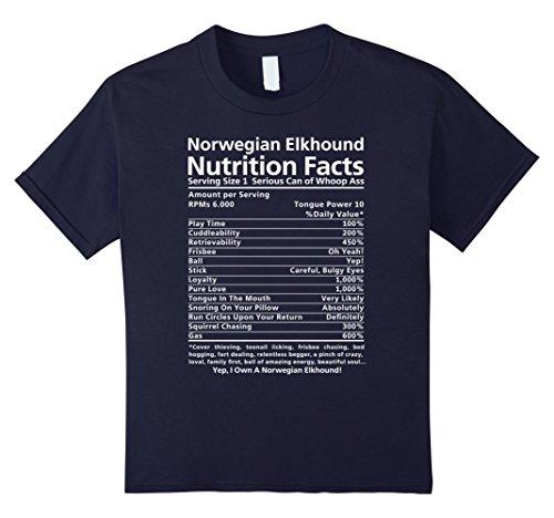 Kids Norwegian Elkhound Shirt | Funny Nutrition Facts T-Shirt 12 Navy