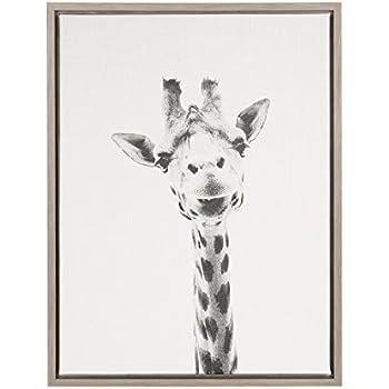 Kate and Laurel Sylvie Giraffe Black and White Portrait Gray Framed Canvas Wall Art by Simon Te Tai