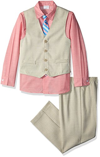 Van Heusen Little Boys' Patterned Four-Piece Vest Set, Basketweave Light Buff, - Basketweave Tie