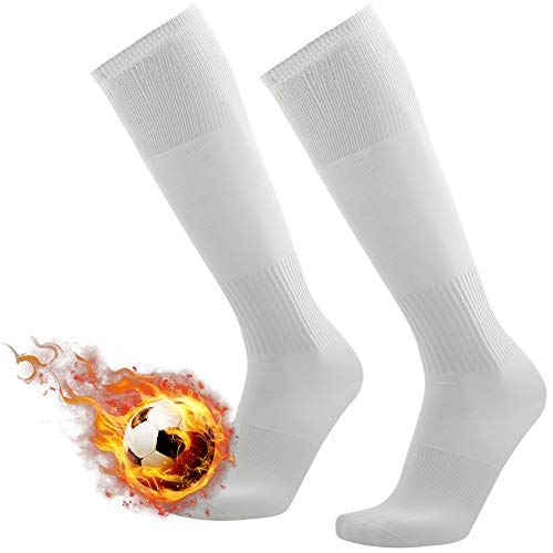 (White Soccer Socks, 3street Unisex Solid Knee High Arch Support Compression Breathable Baseball Football School Team Long Tube Socks 2 Pairs )