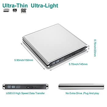Usb 3.0 External Cd Dvd Drive, Dansrue Portable Ultra-slim Cd-rw Dvd-rw Rewriter Burner Player For Laptop Desktops Apple Mac Macbook Pro Pc Windows Vista Linux (Silver A) 5