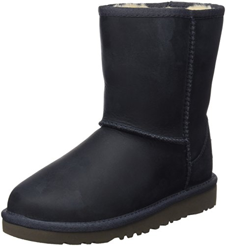 UGG Kids Unisex Classic Short Leather  Peacoat Boot 1 Little