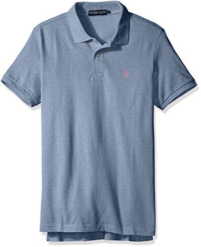 U.S. Polo Assn. Men's Classic Polo Shirt, Riviera Heather/Connecticut Pink, L