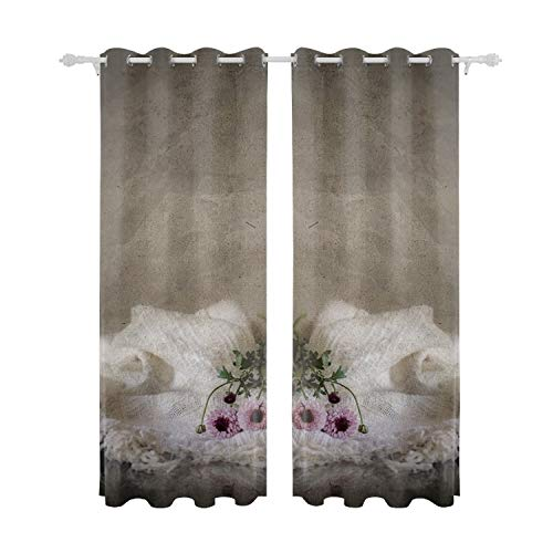 CAIXXI Blackout Curtains Puppy Wicker Basket Amstaff Animals Drapes Thermal Insulated Panels Home Decor Window Treatments Draperies for Bedroom