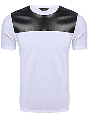 Coofandy New Fashion Men's Leather Patchwork Crewneck Short Sleeve Pullover T-Shirt