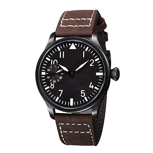 Classic Parnis 44mm Black Sterile Dial Luminous Pointer Brown Leather Band 17 Jewels Seagull 6497 Hand Winding Movement Men's Mechanical Pilot Wrist Watch (Black Case) ()