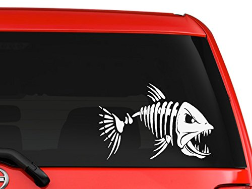 Mad fish skeleton interesting funny picture Halloween decoration special artwork cartoon character silhouette for car truck laptop window macbook vinyl decal sticker 6 inches white