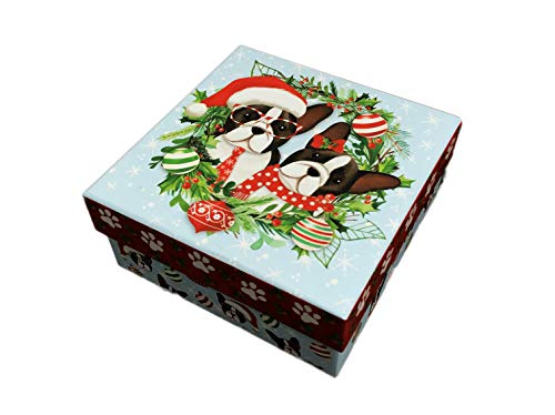 Molly & Rex Cute Festive Christmas French Bulldog Pair Featured in Holiday Wreath with Ornaments Decorative Holiday Storage Gift Box (Small, Light Blue)