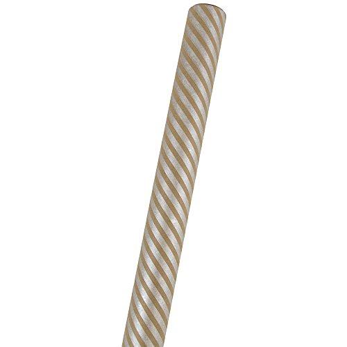 10' Dark Splash - JAM Paper Gift Wrapping Paper - 25 Sq Ft - Brown Kraft & Silver Stripes - Sold Individually