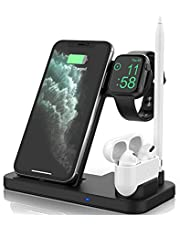 4 in 1 Wireless Charger, Watch & Airpods & Pencil Fast Charging Dock Station, Nightstand Mode for Iwatch Series SE/6/5/4/3/2/1, Fast Charging for iPhone 12/11/Pro Max/XR/XS Max/Xs/X/8/8P