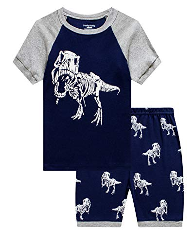 Family Feeling Little Boys Glow in The Dark Dinosaur Pajamas Short Sets 100% Cotton Toddler Kid 4T