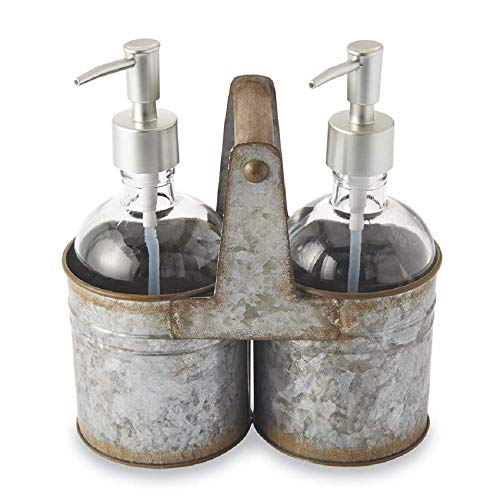 Mud Pie Rustic Tin Soap Caddy Set of 3 ()