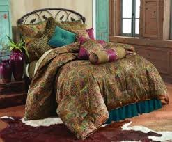 San Angelo w/Teal Bedskirt 4PC Bedding Set - King