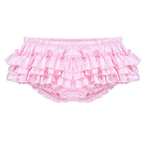 inhzoy Men's Sissy Lingerie Ruffled Crossdress Skirted Panties Underwear Bloomers Briefs Pink XX-Large (Waist 35.5