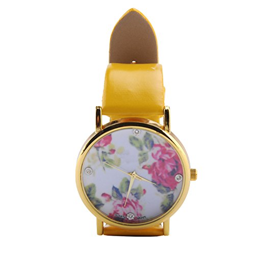 Ocaler®Girl's Fashion Sweet Rose Flower PU Leather Quartz Wrist Watch Big Dial Case Candy Color Women Ladies (Yellow)