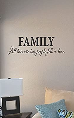 Family All Because Two People Fell in Love Vinyl Wall Decal Sticker