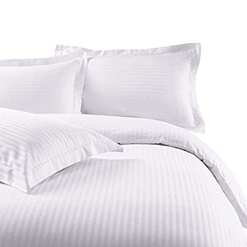 """SL Supreme Linen 1000 Thread Count Egyptian Cotton 1pc Duvet Cover Set Zipper Closer Oversized Super King Size (120"""" x 98"""") with Corner Ties (White Striped)"""