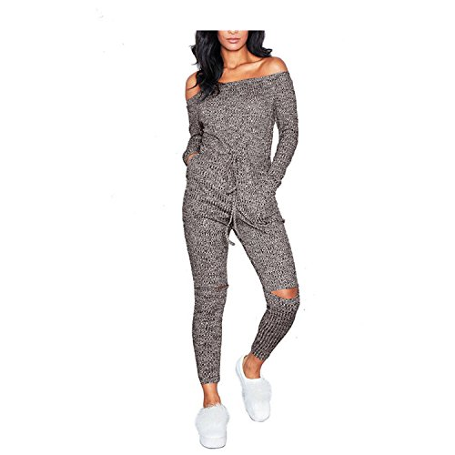 Sexy Off Shoulder Jumpsuits Women Long Sleeve Casual Rompers Knitted Hole Jumps by Rainlife jumpsuits