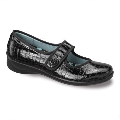 Apex Women's Lucy Button Mary Jane Black Patent Croc 6.5 XW US (Janes Leather Mary Aetrex)