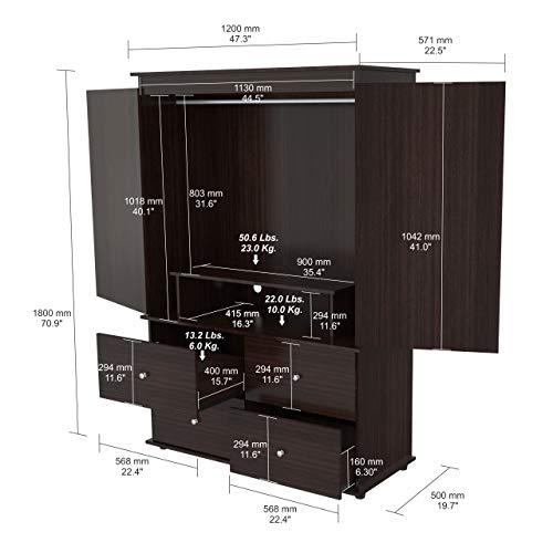 Inval America AM-13923 Wood Armoire Audio/Video Combo, Espresso-wengue